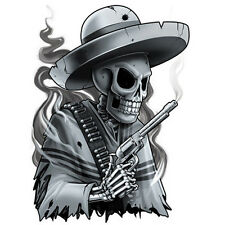 """Negro y Gris"" Temporary Tattoo, Bandit Skeleton w/ Six Shooter Gun, Made in USA"