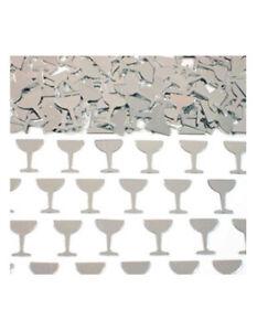SILVER WINE GLASS CONFETTI TABLE DECORATION, ART & CRAFT