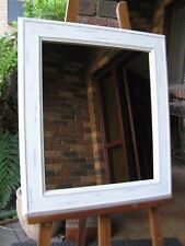 Shabby Chic Wall Mirror Aged White Painted Wood Frame 68cm x 60cm