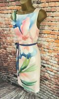 Monsoon Summer Floral Sleeveless Pencil Dress Pastels Lined Belted - UK 12