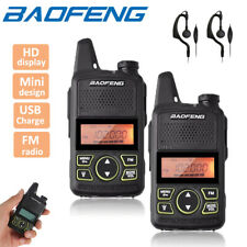 2x Baofeng BF-T1 Mini Walkie Talkies Long Range UHF Two Way FM Radio + Earpieces