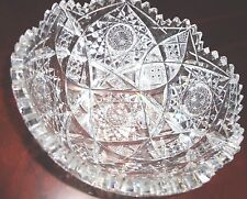 VINTAGE AMERICAN BRILLIANT CUT GLASS HEAVY CRYSTAL BOWL 8'