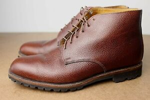 VTG 80s Cole Haan Brown Pebble Grain Leather Chukka Boots Shoes 9 US Lugged Sole