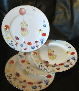 "DISNEY WINNIE THE POOH w Balloon Floral Dinner plate set of 4 10.5 "" New"