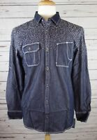 NEW INC International Concepts Men's Chambray Jacquard Denim Shirt Med $65.00
