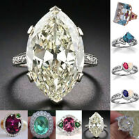 Huge White Topaz Alexandrite 925 Silver Jewelry Wedding Engagement Ring Size6-10