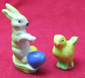 Antique Miniature Germany Bunny With Easter Eggs & Chick Bisque Figures