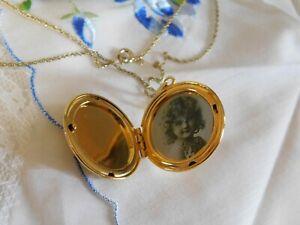 Vintage Gold Photo Locket Necklace