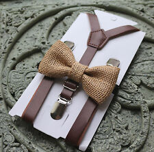 Set- Kids Boys dark Brown PU Leather Suspenders burlap wedding bow tie 12mo -5y