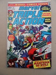 Marvel Triple Action 9 . Avengers .Marvel 1973 . VG +