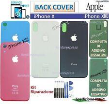 BACK COVER VETRO POSTERIORE SCOCCA PER APPLE IPHONE X XR NERO BIANCO BLUE ROSSO