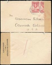 GOLD COAST to ROSICRUCIAN USA WW2 CENSORED 1941...PRINTERS INSCRIP.SELVEDGE SEAL