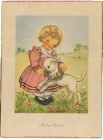 VINTAGE GIRL LAMB SHEEP SHEPHERDESS MEADOW FRIENDS EVA HARTA LITHOGRAPH PRINT