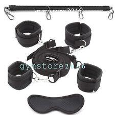 Bed restraints system straps & spreader bar & hand ankle cuffs & eye mask kit sm