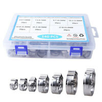 140PCS 304 Stainless Steel Single Ear & Clamp/Ear Hose Clamps Crimping Tool Kit