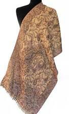 Burgundy Red & Champagne Wool Paisley Jamavar Scarf Jamawar Wrap Pashmina Style