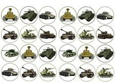 TANK  Edible cake party toppers x 24 ARMY BIRTHDAY