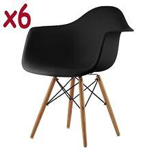 6x Wohnzimmerstuhl Modernes Stühle Retro Kunststoff Esszimmer Bürostüle Schwarz