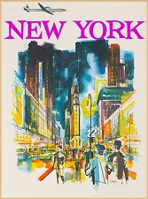 New York City by Airplane United States America Travel Advertisement Poster