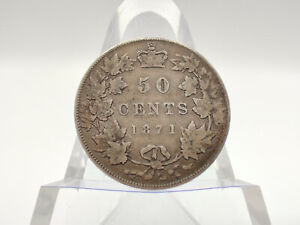1871 Canada Sterling Silver 50 Cent Piece **SEMI KEY DATE, NICE DETAILS**