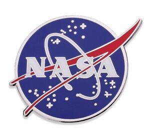NASA Logo Enamel Lapel / Hat Pin, Shiny Silver, Size 1.2 inch