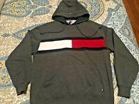 Vintage Tommy Hilfiger Flag Logo Color Block Grey Gray Hoodie Sweatshirt Men's M