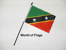 """ST KITTS and NEVIS SMALL HAND WAVING FLAG 6"""" x 4"""" Caribbean Table Desk Display"""