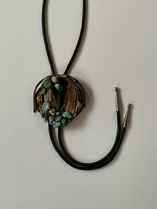 """Bolo Tie Turquoise Devils Claw Handmade Wood 3"""" Southwest Native American Style"""