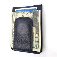 Mens Leather Money Clip Magnet Front Pocket Wallet Slim ID Card Case