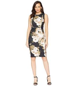 Calvin Klein Floral-Print Stretch Sheath Dress, US14 / UK18  rrp $134, NEW
