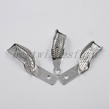 3x Dental Autoclavable Metal Partial Perforated Impression Trays Stainless Steel