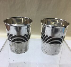 Pair Of Reed Barton Modern Sterling Vodka Glasses