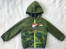 THE NORTH FACE Toddler Boys Reversible Quilted Jacket Hood Green Camo NWT $79 3T