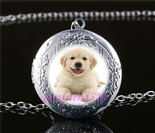 Golden Retriever Cabochon Glass Tibet Silver Chain Locket Pendant Necklace