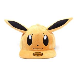 POKEMON Eevee Plush with Ears Snapback Baseball Cap, Unisex, Brown