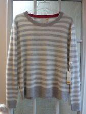 C&C California White&Gray Striped 100%2-Ply Cashmere Crewneck Sweater *Women XL*