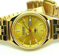 vinatge citizen automatic 21 jewel gold plated day date mens wrist watch