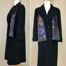 Vintage 1980s Alorna Black Floral Pure USA Made Wool Trench Coat Jacket L 12