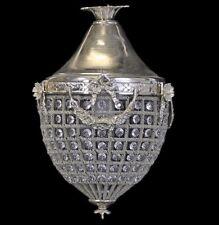 Éclairage style baroque suspendu lampe laiton + cristal - 35 cm argent