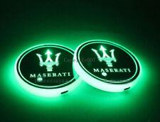 2PCS LED Car Cup Holder Lights Pad For MASERATI Interior Atmosphere Lamp Lights