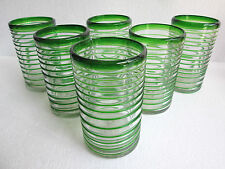 Set of 6 DRINKING GLASS 16 oz  mexican handmade glassblowing glassware