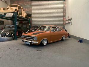 Revell 1/18 Opel Kadett B / Olympia LS Rallye Coupe Orange VGC Slammed Modified
