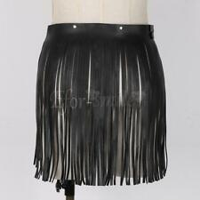 Women Hippie Faux Leather Double Waist Wrap Fringe Tassel Skirt Belt Adjustable