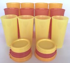Tupperware Tumbler Bouquet W/Seals 12 Piece Set Red Orange Yellow Cups New
