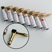 8PCS 24K Gold Plated Nakamichi Angle Speaker Banana Plug Adapter Wire Connector.
