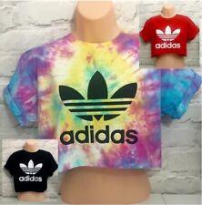 Adidas Originals handgefertigt Tie Dye Crop Top T-Shirt IBIZA FESTIVAL 8 10 12