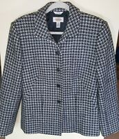 Talbots Blazer Sz 8 Black White Checkered Jacket Lined  Buttons Career