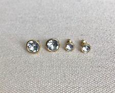Round Bella Bezel Stud Earrings White Clear Genuine Swarovski Crystal Bridal Lux