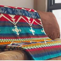 "EXTRA LARGE SOFT & WARM REVERSIBLE ALPACA WOOL BLANKET 75""x95"" ANDEAN DESIGN"