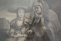 """""""Jeune femme à la pomme et vieille dame"""" Ecole du Nord du XVIIIème siècle """""""